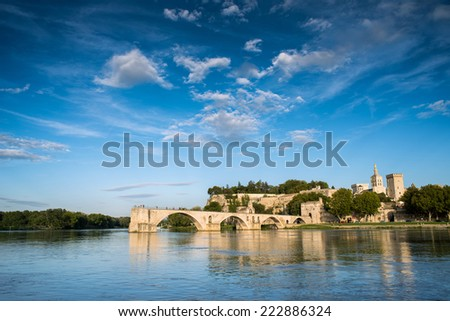 The Pont Saint-B���©nezet, also known as the Pont d'Avignon, is a famous medieval bridge in Avignon, in southern France. - stock photo