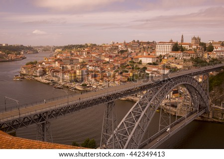 the Ponte de Dom Luis 1 at the old town on the Douro River in Ribeira in the city centre of Porto in Porugal in Europe.