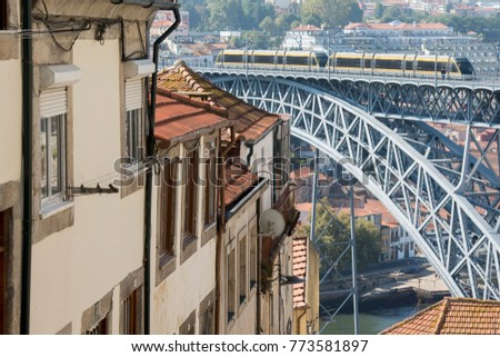 the Ponte de Dom Luis 1 at the old town on the Douro River in Ribeira in the city centre of Porto in Porugal in Europe. Portugal, Porto, October, 2015.