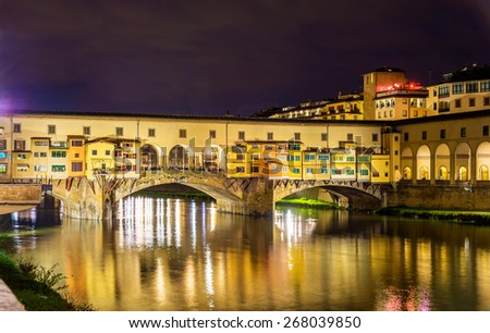 The Ponte Vecchio in Florence at night - stock photo