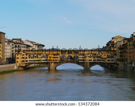 The ponte Vecchio in Florence in Italy a bridge over the river Arno - stock photo