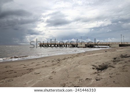 the pontoon in Ostia Beach, Rome, Italy - stock photo