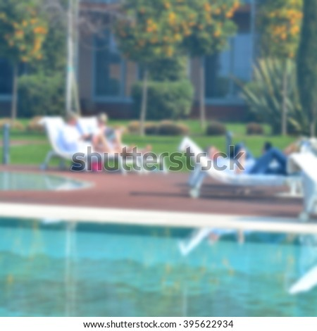 The pool in the luxury hotel; defocused background intentionally with blurred effect;