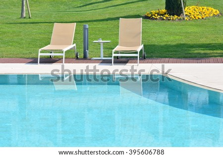 The pool in the luxury hotel for summer time.