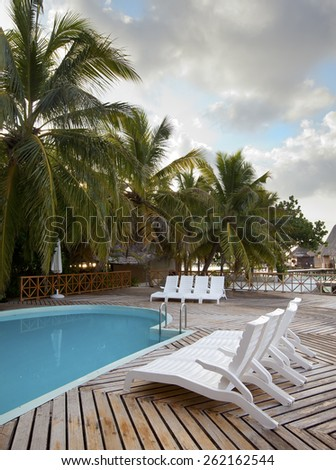 The pool on the seashore - stock photo