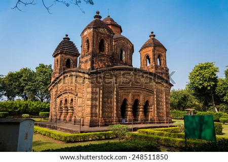 The popular and historic Shyam Rai temple also known as Pancha Ratna Temple in Bishnupur established in 1643 AD is a famous tourist destination - stock photo