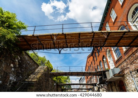 The popular Factors Walk along the Riverfront Plaza in downtown Savannah, Georgia. - stock photo