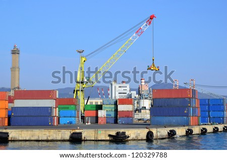 the port cargo and containers of Genoa