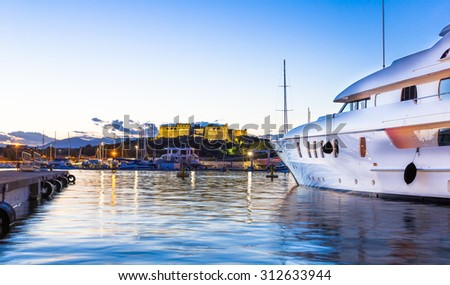 The port of Antibes and the fortress - stock photo