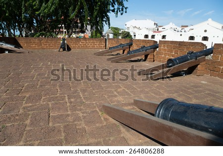The Port of Malacca and the Malacca River. Stone Fortifications Along the Sungei Melaka, Malaysia. - stock photo
