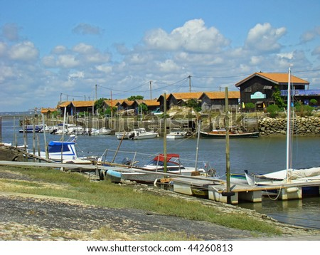 The port of oyster farmers at Arcachon - stock photo