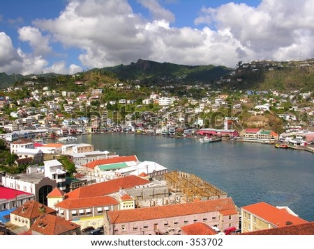 The port of St. George / Grenada - stock photo
