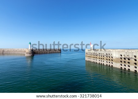 The Port with Wall of Dielette, Normandy, France - stock photo