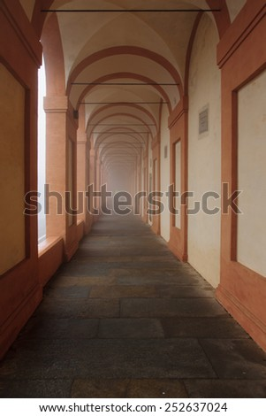 The portico (covered walkway) to the Santuario di Madonna di San Luca, in Bologna, Emilia-Romagna, Italy