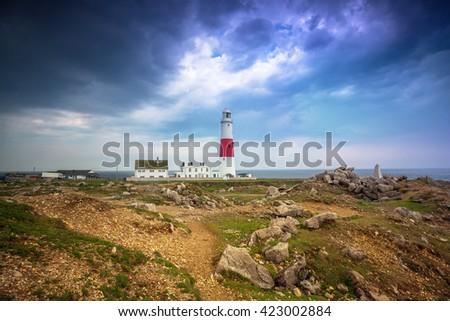 The Portland Bill Lighthouse on the Isle of Portland in Dorset, UK - stock photo