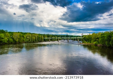 The Portland-Columbia Bridge over the Delaware River, in Portland, Pennsylvania. - stock photo