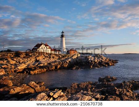 The Portland Head Light At Sunrise, Portland, Maine, USA - stock photo
