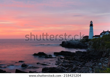 The Portland Head Light Under Sunrise Skies, Portland,Maine, USA - stock photo