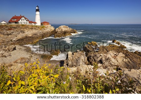 The Portland Head Lighthouse in Cape Elizabeth, Maine, USA. Photographed on a beautiful sunny day. - stock photo