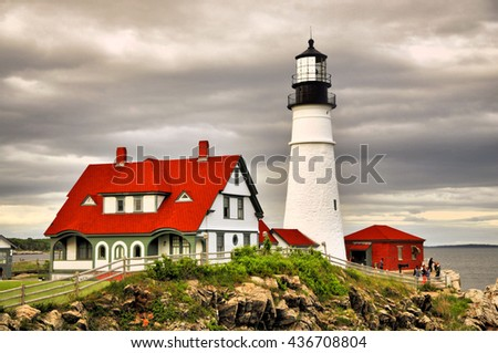 The Portland Headlight Lighthouse in South Portland Maine / Portland Headlight