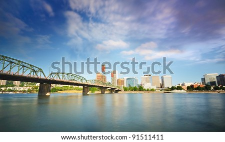 The Portland skyline from East Waterfront - stock photo