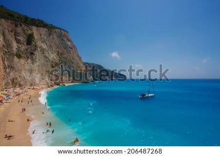 The Porto Katsiki beach, on the island of Lefkada in Greece - stock photo