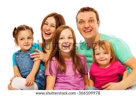 The portrait of happy big smiling family - stock photo