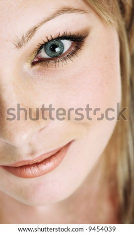 the portrait of the beautiful girl with blue eyes