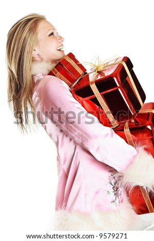 the portrait of the happy girl with gifts - stock photo