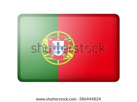 The Portuguese flag. Rectangular matte icon. Isolated on white background. - stock photo
