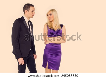 The possibility of love between office employees. Colleagues their love relationship. Man makes attentions woman at work. Love story office staff. Feelings of love, hate, jealousy, passion, or not. - stock photo