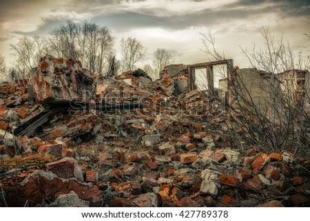 The post-apocalyptic landscape after a nuclear war - stock photo