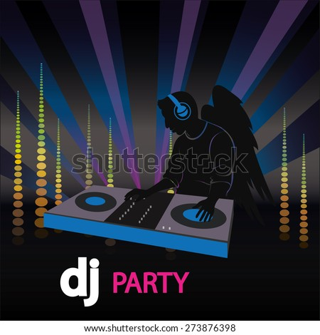 the poster of the DJ with wings - stock photo