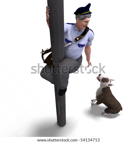 the postman seeks shelter from the dog. 3D rendering with clipping path and shadow over white