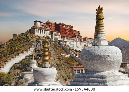 The Potala Palace in Tibet during sunset - stock photo