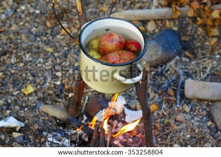 The potatoes cooked in a pot on the fire - stock photo