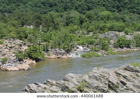 The Potomac River below the Great Falls. - stock photo