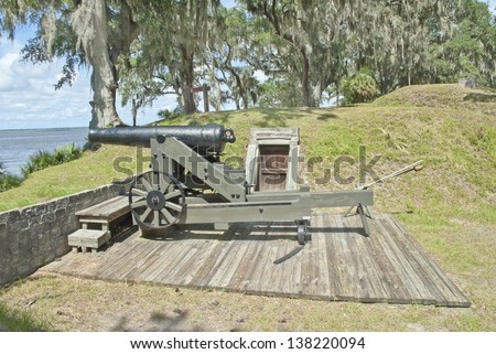 The 32 - Pound Gun Emplacement on the banks of the Ogeechee River at Fort McAllister just south of Savannah, Georgia. - stock photo
