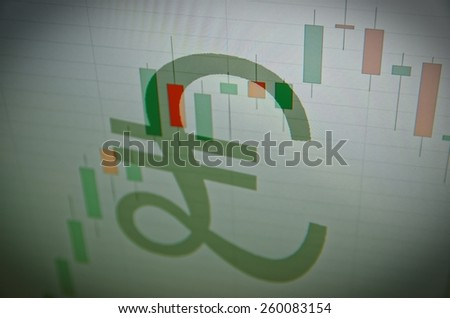 The pound sterling sign on PC screen. Chart of foreign exchange as background - stock photo