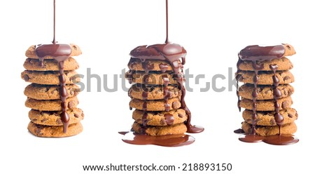 the pouring chocolate on cookies - stock photo