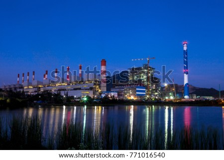 The power plant on twilight background.