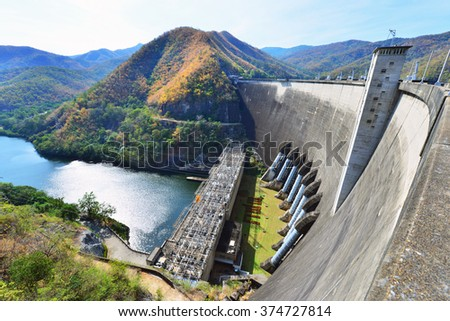 The power station at the Bhumibol Dam in Thailand. The dam is situated on the Ping River and has a capacity of 13,462,000,000 cubic - stock photo