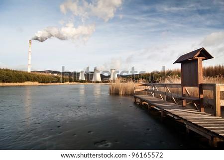 the power station Prunerov in winter time - Czech Republic - stock photo