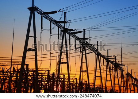 The power supply facilities of contour in the evening, it is very beautiful - stock photo