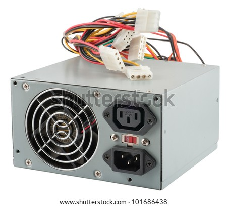 The power unit of the personal computer on a white background - stock photo