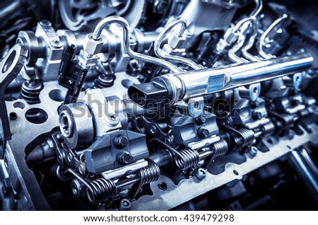 The powerful engine of a car. Internal design of engine. - stock photo