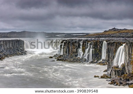 The powerful Selfoss waterfall in Iceland - stock photo