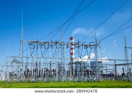 The powerlines at the power station in Poland Opole - stock photo