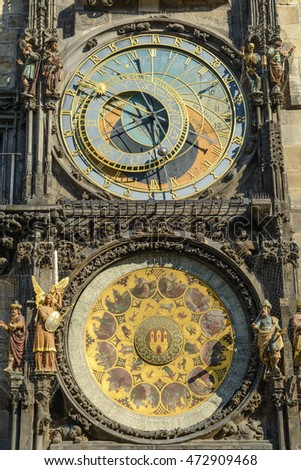 The Prague Astronomical Clock (Prague Orloj), a medieval astronomical clock located in Prague, the capital city of the Czech Republic. Installed in 1410, it's the only one still working in the world.