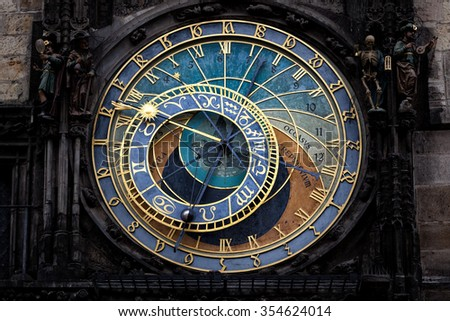 The Prague astronomical clock (Prague orloj), Czech Republic